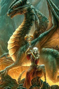 Dragon master, green, woman, female warrior, fantasy art, mythical, amazing…