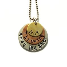 """Hamilton musical inspired """"Not Throwing Away My Shot"""" Necklace Tri-Layer brass, copper, and aluminum necklace with an aluminum chain. Each necklace comes in an organic pouch, ready for gift giving! Perfect for fans of the revolution! Hamilton Lin Manuel, Lin Manuel Miranda, Alexander Hamilton, Hamilton Gifts, Hamilton Musical, Hamilton Broadway, And Peggy, Theatre Nerds, Dear Evan Hansen"""