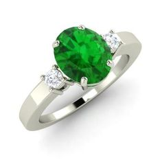 Oval-Cut Emerald  and Diamond  Sidestone Ring in 14k White Gold