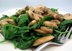 Sauteed Spinach— Recipes for a low carb diet Spinach Recipes, Veggie Recipes, New Recipes, Cooking Recipes, Healthy Recipes, Healthy Foods, Sauteed Spinach, Spinach Stuffed Mushrooms, Stuffed Peppers