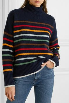 La Ligne - Marin striped wool and cashmere-blend turtleneck sweater Knitted Mittens Pattern, Crochet Poncho, Lace Knitting, Poncho Outfit, Sweater Outfits, Normcore Outfits, Casual Outfits, Knit Fashion, Look Fashion