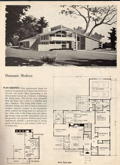 Dramatic mid century modern house plans - (space age, atomic era, homes)%categories%Bedroom Mid Century Modern Design, Modern House Design, Home Design, Modern Floor Plans, House Floor Plans, Midcentury Modern House Plans, Mcm House, Vintage House Plans, Vintage Architecture