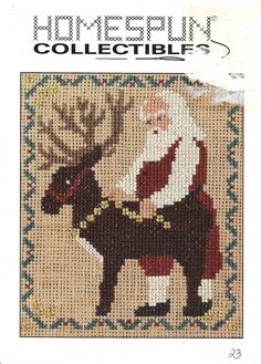 By Homespun Collectibles. Santa standing beside a reindeer. The border is a green and red holly design. Counted Cross Stitch Pattern. Stitch count : 61W x 75H. Santa - 23. The pattern card has a torn spot on the front right side of the card. | eBay!