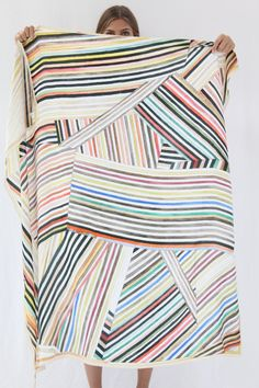 """Large luxurious scarf, 100% silk, in Painted Stripes print. 53"""" by 53"""" Wear around your neck or hang on a wall. Art is art. Exclusive to Beklina. Hui Hui is an independent German designer. Everything"""