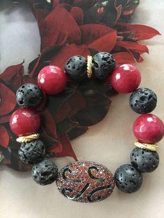 Black Lava Red Agate Pave Bracelet, Stretch Red Fire Gemstone, Filigree Crystal Cz Jewelry, Statement Stretch Fashion Gift, Her Chic Stack by Elegantzia on Etsy