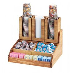 Madera Condiment Station Item: 2019-99 (15.25Wx14Dx9.5H) - Condiment Organizer 298-99 (4.5Wx4.5Dx8.5H) - Cup and Lid Holder (3 Shown) This bamboo condiment station is the answer you've been looking for. With plenty of room for teas, sugars, or other packets in front as well as two bigger middle sections, this station also has the option to display cups/lids with 3 of the 298-99's!