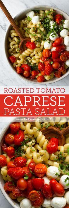 Quick Roasted Tomato Caprese Pasta Salad