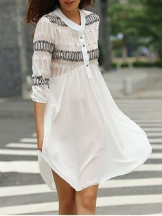 Casual Jewel Neck Faux Pearl Embellished 3/4 Sleeve Loose-Fitting Chiffon Dress For Women