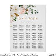 Blush Pink and White Floral Wedding Seating Chart Wedding Art, Wedding Signs, Floral Wedding, Rustic Wedding, Wedding Beach, Seating Chart Wedding, Seating Charts, Magnolia Wedding, Spring Wedding Invitations