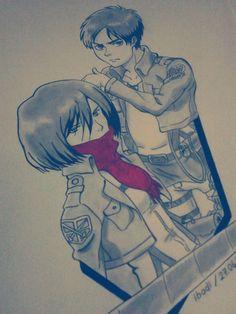 Eren & Mikasa drawing