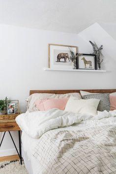 floating shelf above bed - master bedroom decor ideas