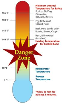"""It is critical to avoid the danger zone to ensure food safety. According to the CDC, """"there are 31 pathogens known to cause foodborne illness. Many of these pathogens are tracked by public health systems that track diseases and outbreaks"""". Food Safety And Sanitation, Food Safety Training, Food Temperatures, Food Handling, Food Technology, Keep Food Warm, Usda Food, Danger Zone, Cooking For Two"""