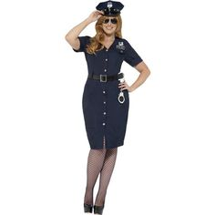 Curves Nyc Cop Costume Blue With Dress Belt &Amp; Hat ($52) ❤ liked on Polyvore featuring costumes, police officer halloween costume, cop halloween costumes, police officer costume, blue costumes and police woman halloween costume