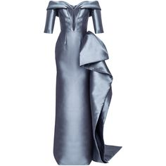 Mark Bumgarner Sarah Gown ($5,200) ❤ liked on Polyvore featuring dresses, gowns, grey, off the shoulder evening gown, grey gown, gray evening dress, off-shoulder dresses and gray evening gown