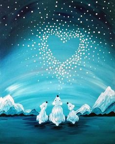 Join us for a Paint Nite event Tue Nov 2017 at 700 Hempstead Tpke Franklin Square, NY. Purchase your tickets online to reserve a fun night out! Winter Painting, Winter Art, Diy Painting, Polar Bear Paint, Christmas Paintings On Canvas, Bear Paintings, Ecole Art, Paint And Sip, Beginner Painting