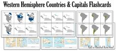 America Countries Capitals Flashcards: Printables for memorizing the countries and capitals of the Western Hemisphere. (Classical Conversations Challenge A)
