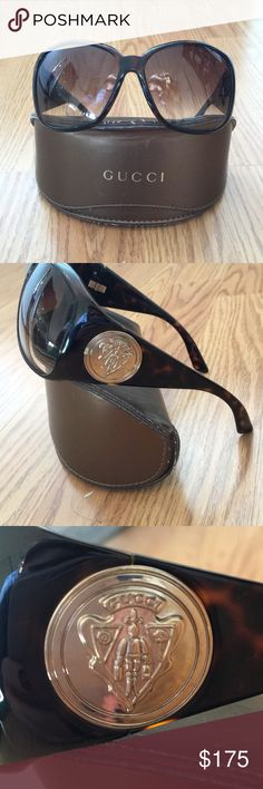 Authentic Gucci sunglasses Authentic Gucci sunglasses, worn twice. The case has some scuff marks on the outside, but the glasses are perfect. Brown glasses with gold logo on the side. Glasses come with case and microfiber cloth. Purchased from Nordstrom. Willing to deal. Gucci Accessories Glasses