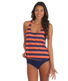 Splendid Marcel Stripe Tankini Duo and Solid Band Swim Bottom