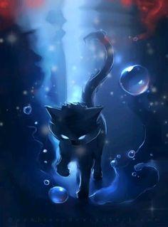 Dark halo by Rhiards Donskis aka Apofiss Anime Wolf, Pet Anime, Anime Animals, Anime Art, Cute Animals, Mythical Creatures Art, Fantasy Creatures, Devian Art, Cute Animal Drawings