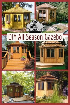 Cedarshed has many different styles of gazebo to suite your backyard ideas. The all season gazebo is a perfect place to relax when the weather doesn't cooperate with your bbq plans. They make great hot tub enclosures as well. DIY instruction manual allows for an easy build. #cedarshed #gazebo #gardening #woodworking