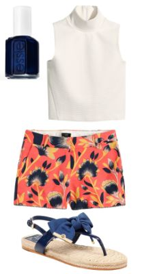 navy and orange outfit for summer