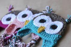 Crochet Owl Hat Pattern.  For when I learn how to crochet.