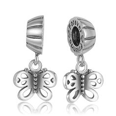 Friends Forever Butterfly Dangle Charm 925 Sterling Silver Pandora Compatible
