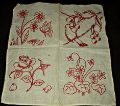 The Gatherings Antique Vintage - 1900s 1920s Embroidery Turkey Redwork Quilt Block 4 Motifs, $12.50 (http://store.the-gatherings-antique-vintage.net/1900s-1920s-embroidery-turkey-redwork-quilt-block-4-motifs/)