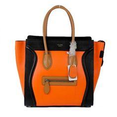 Celine Luggage Tote Bag Two Tone Orange And Blue [Celine-272 ...