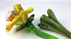 Studio Artisan Hand Pulled Glass Floral 15 In Yellow Flower