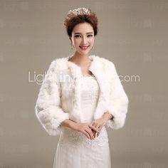 Fur Wraps / Wedding Wraps / Fur Coats Coats/Jackets 3/4-Length Sleeve Faux Fur Ivory Wedding / Party/Evening Open Front 2017 - $57.19