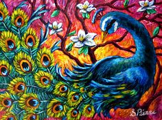 peacock pictures | Luminous Peacock Painting by Sebastian Pierre - Luminous Peacock Fine ...