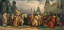 Palm Sunday procession, Moscow, with Tsar Alexei Michaelovich (painting by Vyacheslav Gregorievich Schwarz, 1865)