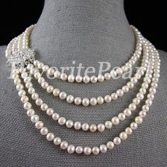 Pearl Necklace - 16-22 Inches 6-7mm 4-Strand White Color Natural Freshwater Pearl Necklace - Free Shipping