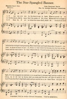 The Star-Spangled Banner by Francis Scott Key (written in 1814) with the musical score a1