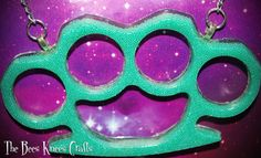 Teal Bead Brass Knuckles Shaped Novelty Resin Necklace Emo/Punk/Lolita/Goth/Alt #Handmade #Chain