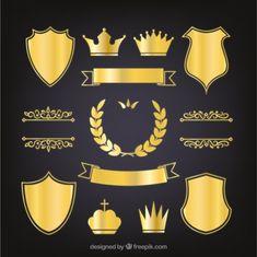 Set of elegant golden heraldic shields Free Vector Game Design, Logo Design, Crown Logo, Knight Armor, Graphic Wallpaper, Ribbon Design, Logo Concept, 1st Boy Birthday, Free Stickers
