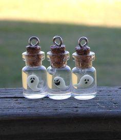 Glow-in-the-Dark Ghost in a bottle pendant - cute