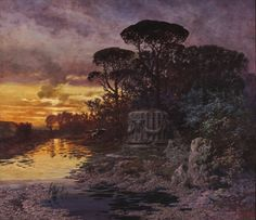 Ferdinand Knab,Romantic Landscape with Crane, 1895