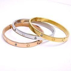 gold bangles for women   New Elegant women titanor metal 14K Rose Gold white Crystal Bangles ...