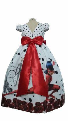 f9f82aa038 Tia Gina - Artesanato feito com Amor Vestido Festa Infantil Tema LadyBug  para Menina. O