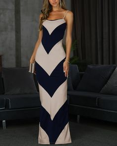 Style:Sexy Pattern Type:Colorblock Polyester Neckline:U-Neck Sleeve Style:Spaghetti Strap Decoration:Colorblock,Side Slit Length:Maxi Occasion:Cocktail & Party Package Dress Note: There