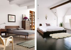 Wooden bed frames give off a clean and sleek look, perfect for these modern-style bedrooms.