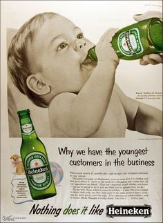 Nothing like a beer ad that encourages you to mix beer in with your toddler's milk. Some Heinekens, a couple of Camels...that's a happy preschooler.
