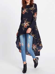Shop navy flower print dip hem longline trapeze top at Fashiontage. Give your online shopping a new twist with stylish women's tops/tops from Fashiontage. Look Fashion, Indian Fashion, Fashion Outfits, Fashion 2018, Kurta Designs Women, Blouse Designs, Long Kurti With Jeans, Kurti Designs Party Wear, Designs For Dresses