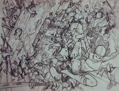 regram @pepelarraz #Pencil for that #doublepagespread of #UncannyAvengers #15 in which I went completely #nuts  #rogue #elektra #deadpool #HumanTorch #synapse #doctorvoodoo #Wasp #quicksilver #thehand #ninjas #tokio #marvel #marvelnow #goingrouge #traditionalart