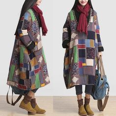 Loose Fit Chinese Traditional Women Long Floral Quilted Coat Dress /Pocket #Unbranded #BasicCoat