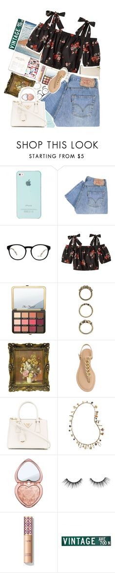 """""""Too commercial *️⃣"""" by biteesizedd ❤ liked on Polyvore featuring Levi's, Balenciaga, Prada, Rebecca Taylor, Just Peachy, Forever 21, Tory Burch, Too Faced Cosmetics and tarte"""