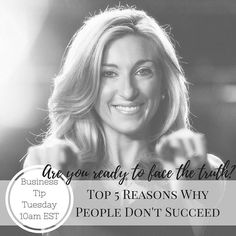 Everyone has the potential to be successful but not everyone will utilize it to their advantage.  Are you ready to aim high and see incredible success? Join me tomorrow April 11th at 10AM EST for my Business Tip Tuesday where I will be talking about the Top 5 Reasons Why People Don't Succeed.  This is one you will NOT want to miss!  Until then I want to hear what you think the #1 reason is that people don't succeed. I'm curious to hear what you think!! Drop your ideas below…