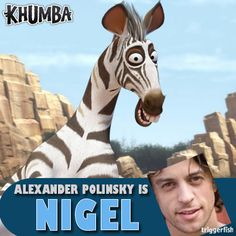 ZEBRA - Movie  Nigel is the herd's gangly 'town-crier' – though he'd be a lot more effective if he wasn't the last to know about everything! LOL VOICED BY ALEXANDER POLINSKY Who is your favourite character?  #Khumba  www.khumbamovie.com Animation Studios, Animation Movies, Zebras, Giraffe, Meet, Characters, Lol, Animals, Cartoon Movies